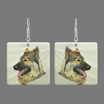 Natural Mother of Pearl Shell Dog Earrings Square Drop Jewelry S1706 0040