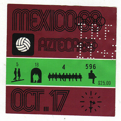 Orig.Ticket   Olympic Games MEXICO 1968 / Football Tournament    MEXICO - GUINEA
