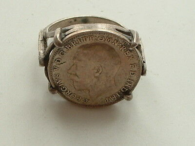 George V 1915 coin mounted silver banded ring 1915