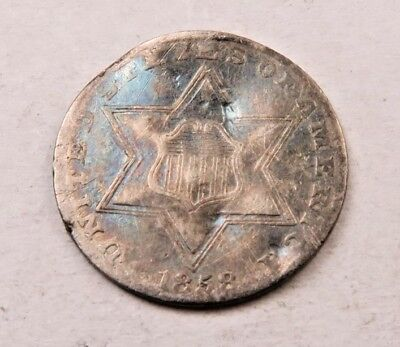 1858 SILVER Three Cent Coin (3 Cent) // Better Date! // (ST141)
