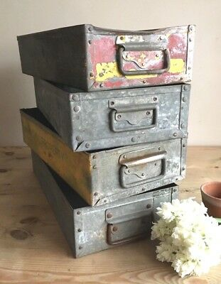 Industrial Galvanised Tote Pans Metal Storage Trays / Bins / Vintage Metal Box