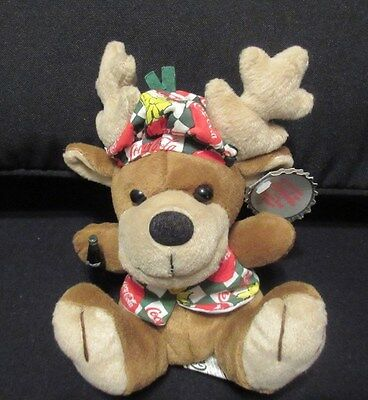 "Coca-Cola ""reindeer With A Coke In Vest & Beanie"" Original Bean Bag Plush. 1998."