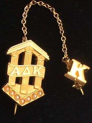 Estate ALPHA DELTA KAPPA signed 1/10 10K GOLD Seed PEARL SORORITY PIN Fraternal