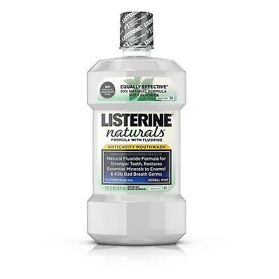 Listerine Naturals Anticavity Mouthwash With Fluoride, Herbal Mint, 1 Liter