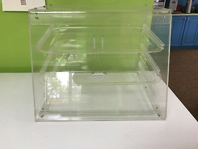 Acrylic 3 Trays Bakery Pastry Display Case Figures Toys Box Candy Serve Store