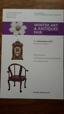 Ticket to admit 2 - Winter Art & Antiques Fair - Olympia - 1st-5th November 2017