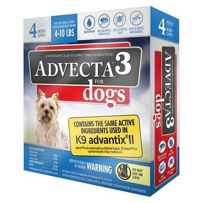 NEW ADVECTA 3 For Small Dogs 5-10 lbs 4 month Supply small dog