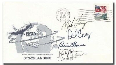 STS-26 Return to flight complete crew handsigned EAFB cover - 3f317