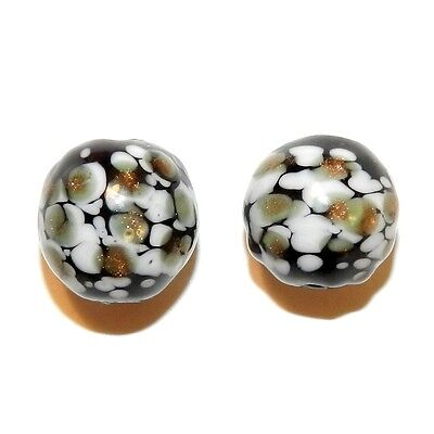 G4279f Black w White & Copper Sparkles 13mm Round Blown Lampwork Glass Beads 2pc