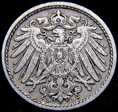 Germany 1911 - D 5 Pfennig German Empire Coin (Rl#1524)  106 Years Old