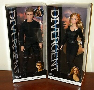 Set of 2 Divergent Dolls Tris & Four NRFB Barbie Collector 2014 Black Label Lot