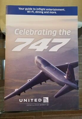 United Airlines inflight brochure menu featuring the Boeing 747 photo magazine