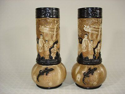 Pair of Large Bretby Floor Vases Oriental Design with Salamander Figural Detail