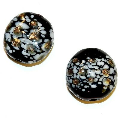 G4283 Black w White & Copper Sparkle 21mm Flat Round Blown Lampwork Glass Beads