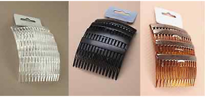 New 4 Pack Of Hair Combs Hair Slides Black Clear Tort Hair Comb Plastic