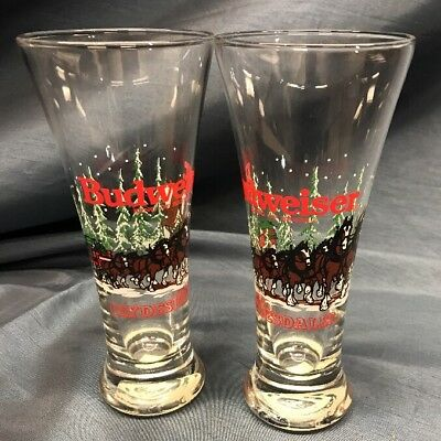 """2 - Vintage - 1989 Budweiser Pilsner Beer Glass Clydesdales Christmas 7.25"""" Tall"""