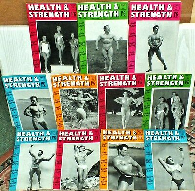 11 X ISSUES Vintage BODYBUILDING HEALTH AND STRENGTH MAGAZINE 1959 June to Dec