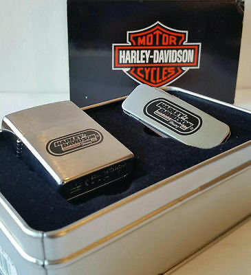 Zippo Lighter Harley Davidson Racing Knife Money Clip Gift Set New in box 1997