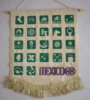 Orig.pennant   Olympic Games MEXICO 1968  // 28 x 24 cm  !!  VERY RARE