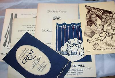 Vintage Lot of 6 Old New York City area Playbills and Programs 1926-1954 Misc.