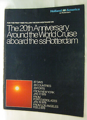 20th Anniversary Around the World Cruise aboard the ss Rotterdam Brochure
