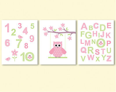 3 prints, art for baby girl nursery decor - alphabet and numbers, owl on a swing