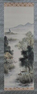 Fine RARE Korea Korean Ink and color on silk Landscape Scroll Boxed & signed