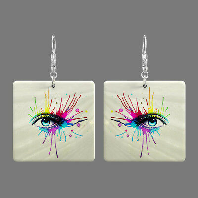 Natural Mother of Pearl Shell eye Earrings Square Drop Jewelry S1706 0105