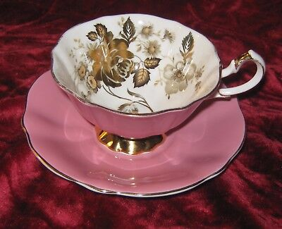1 - Queen Anne Pink and Gold Rose Tea Cup and Saucer (2017-127)