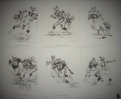6 Vintage 1981 NICK GALLOWAY St Louis Football Cardinals Shell Oil Prints LotB