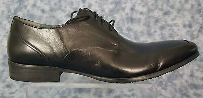 Steve Madden Mens Size 8.5 Black  Apron Toe Leather Oxfords New With Tags