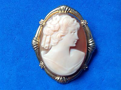 Gold Fill Carved Shell Pin Pendant. Beautiful Vintage Piece