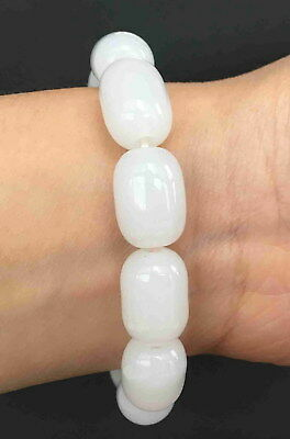 Handmade Decorative White Jade Carved Exquisite Bead Beautiful Bracelet Ornament
