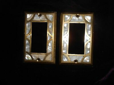 2 Brass Light Switch Plates Outlet Cover Mother Of Pearl* Unique & Beautiful