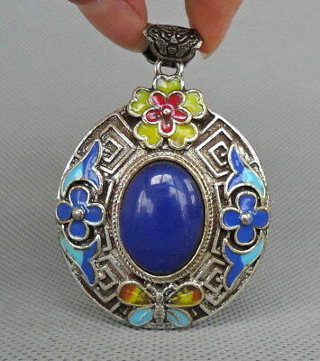 Chinese Handmade Miao Silver Carve Flower Inlay Bead Exquisite Beautiful Pendant