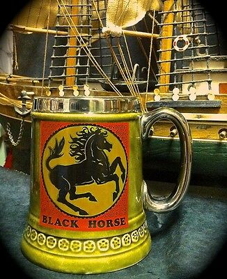 Lord Nelson Beer/coffee Mug ~ Black Horse Inn ~ Green Glaze Silver Rim & Handle