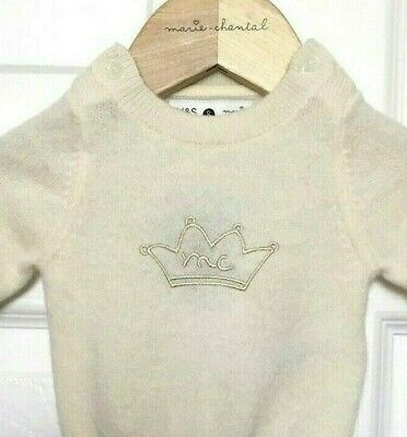 M&S Marks £50 Baby Marie Chantal Luxe Cream Pure Cashmere Jumper BNWT 1 Month