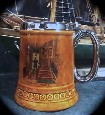 LORD NELSON BEER/COFFEE MUG ~ SILENT NIGHT ~ BROWN GLAZE w/ SILVER RIM & HANDLE