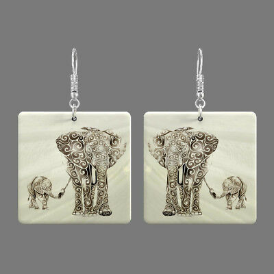 Natural Mother of Pearl Shell Elephant Earrings Square Drop Jewelry S1706 0125