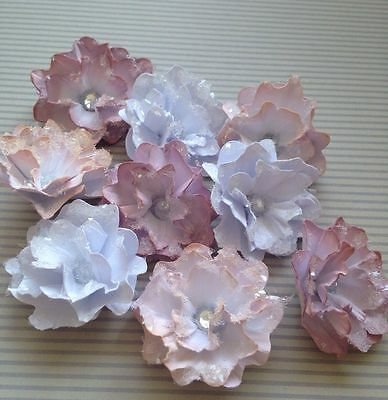 Gorgeous  Frosted Floral Handmade Paper Flower Embellishments