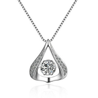 Dancing Silver Halo Heart Teardrop Cubic Zirconia Pendant Necklace Gift Christma