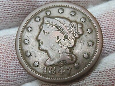 1847 Braided Hair U.S. Large Cent, and free shipping