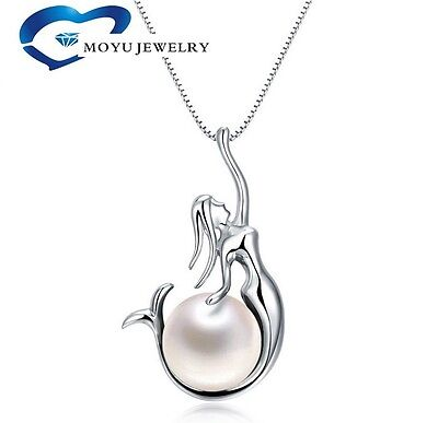 "925 Sterling Silver 8mm Freshwater Pearl Mermaid Pendant 18"" Chain Necklace Gift"
