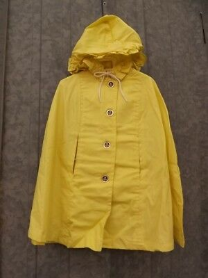 Sunny Yellow Vtg 50 60s NEW Spring Summer Hooded Button Down Poncho Cape 3T/4T