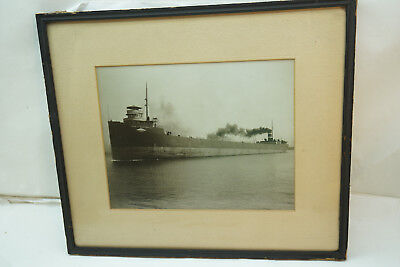 Vintage Photo Great Lakes Steamship Fred G Hartwell B&w Photograph Ship Maritime