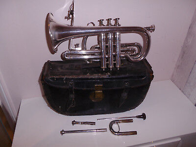 Antique Boosey & Co Silver Band Cornet Class A Light Valve 61369 Cased C1903?