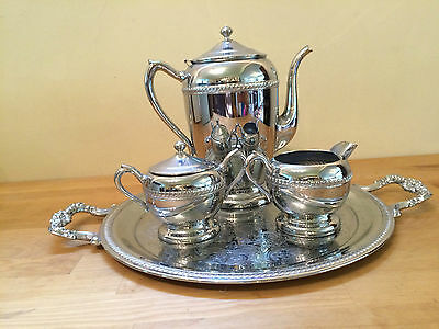 Vintage PERMA BRITE CHROME Tea Coffe Set with Tray by National Silver Company