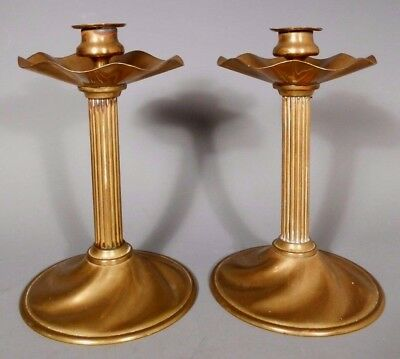 Pair of Brass Art Deco Candle Holders Swirl Base & Scalloped Bobeche ca. 1920's