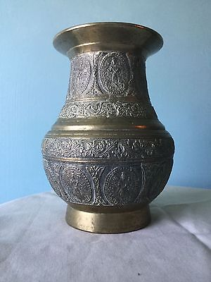 Antique Brass Pot. Beautiful Eastern Detail. India. Planter Vase