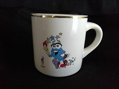 1996 Olympic Games Atlanta Coffee Mug Cup Mascot IZZY with Flame Gold Plated Rim